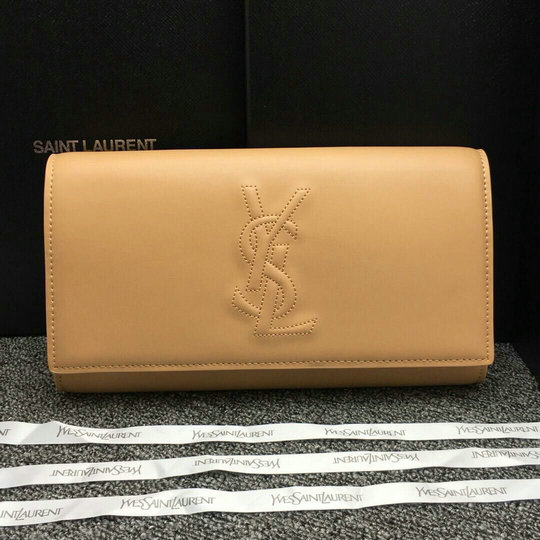 Classic YSL Leather Clutch in apricot