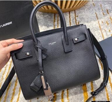 2021 Saint Laurent Classic Baby Sac De Jour Bag in Grained Leather 477477 Black