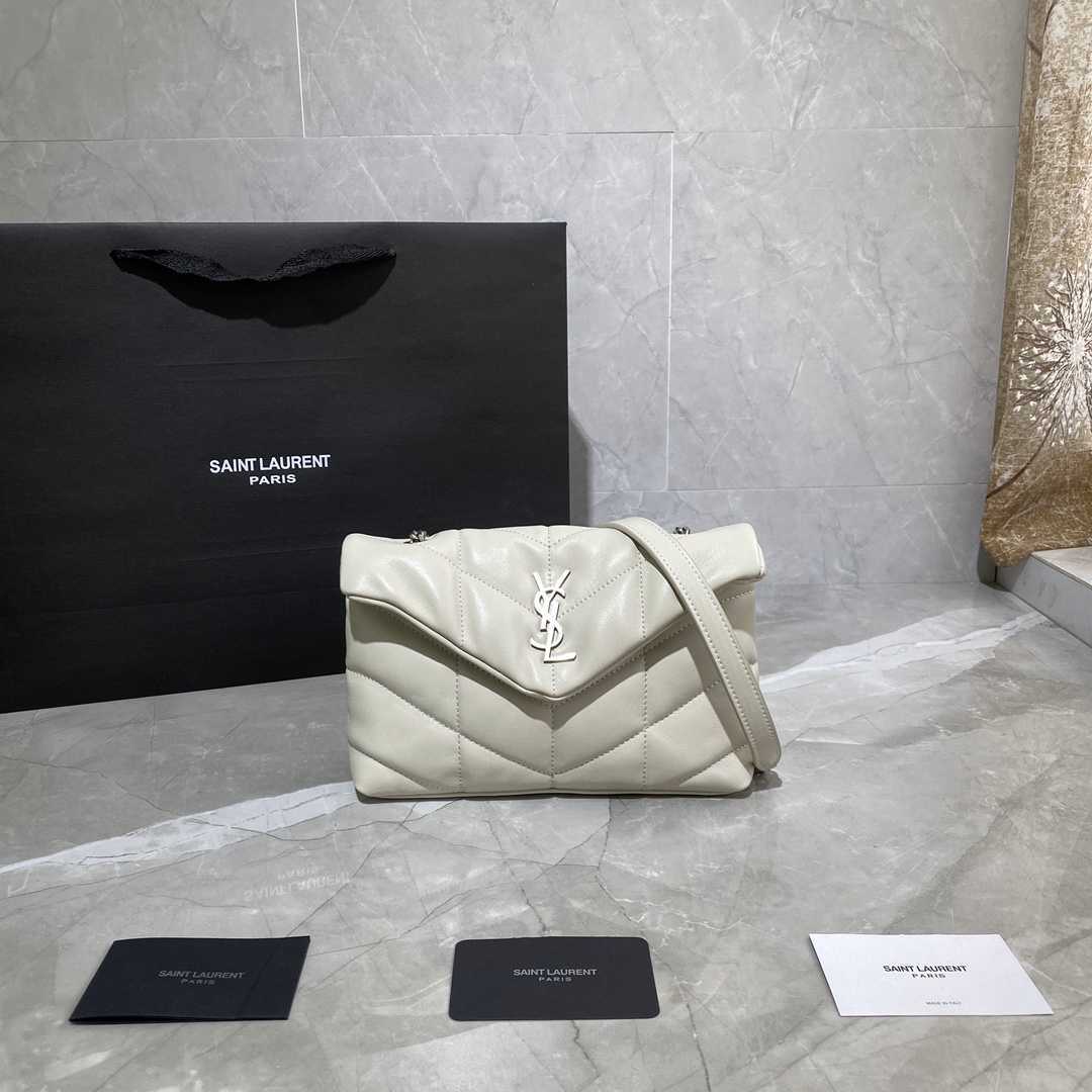 2020 cheap Saint Laurent Loulou Puffer mini Bag in white quilted lambskin leather