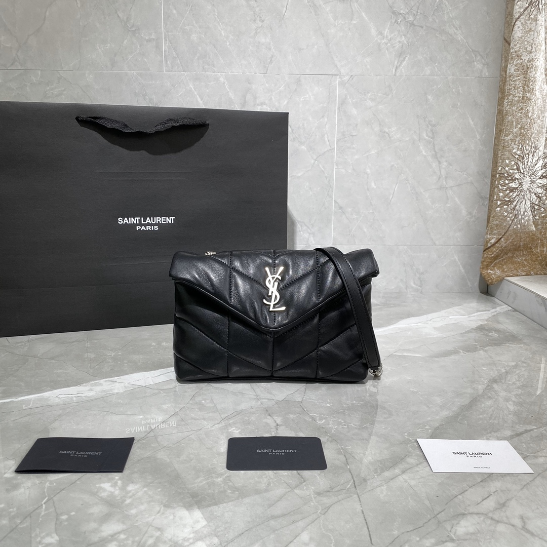 2020 cheap Saint Laurent Loulou Puffer mini Bag in black quilted lambskin leather