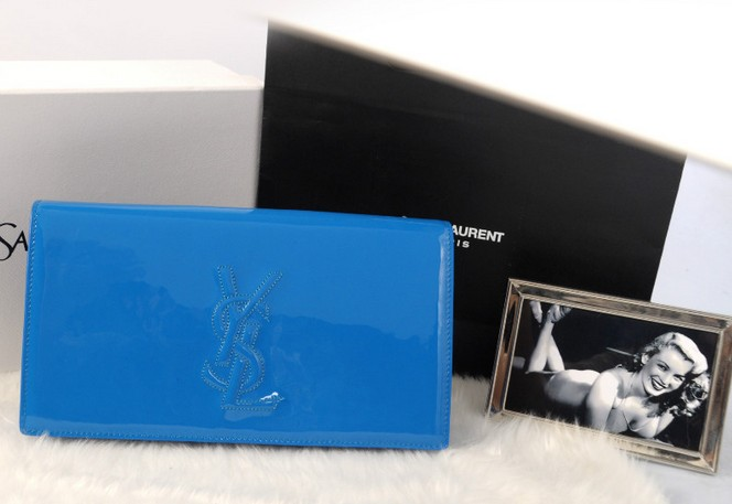 YSL wallet 2013,Yves Saint Laurent Belle De Jour Patent Leather Clutch blue