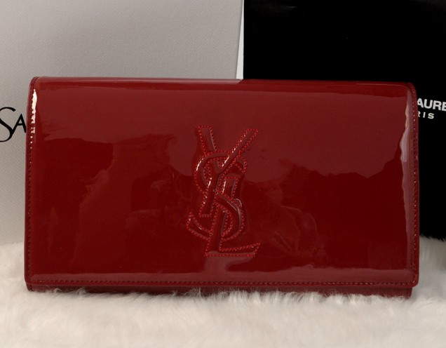 YSL wallet 2013,Yves Saint Laurent Belle De Jour Patent Leather Clutch red